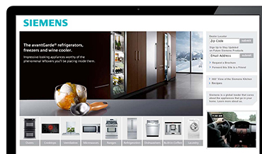 North American launch for Siemens home appliances included microsites for each product.